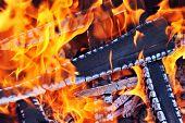pic of ember  - Burning down fire - JPG
