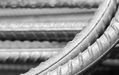 pic of reinforcing  - Close up of Reinforcing steel bar for construction - JPG