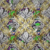 stock photo of pattern  - Vector seamless texture with abstract flowers - JPG