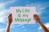 stock photo of gandhi  - My Life is My Message card with sky background - JPG