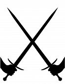pic of crossed swords  - A pair of swords crossed in silhouette over a white background - JPG