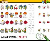 pic of brain-teaser  - Cartoon Illustration of Completing the Pattern Educational Game for Preschool Children - JPG