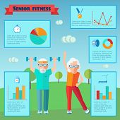 foto of senior adult  - Senior sport infographics with adult couple training and charts set vector illustration - JPG