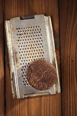 image of cocoa beans  - roasted cocoa beans in Vintage heavy cast aluminum roasting pan and and 100 - JPG