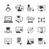 stock photo of online education  - Online education video learning digital graduation icon black set isolated vector illustration - JPG