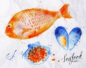 pic of hook  - Set watercolor drawn seafood - JPG