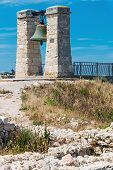 image of sevastopol  - Big bell in the Chersonesus in Crimea near Sevastopol. focus on the bell ** Note: Shallow depth of field - JPG