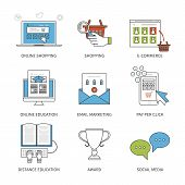 stock photo of online education  - Flat design modern vector illustration concept for online shopping - JPG