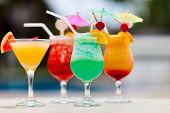 foto of cocktail  - Exotic cocktails in a tropical setting - JPG