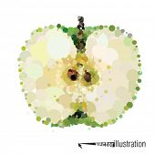 picture of transverse  - Vector cutout apple that consists of circles - JPG