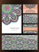 image of indian wedding  - Set of business card and invitation card templates with lace ornament - JPG