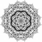 image of kaleidoscope  - Ornament color card with mandala - JPG