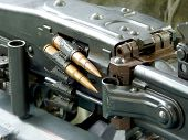 picture of time machine  - Tape with bullets filled in the German machine gun of times of World War II - JPG