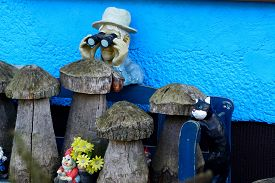 picture of gnome  - Man with binoculars and a cat garden gnomes - JPG