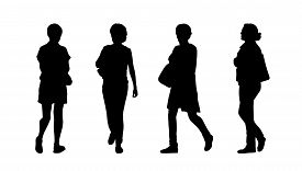 picture of ordinary woman  - silhouettes of ordinary women of different age walking outdoor front back and profile views - JPG