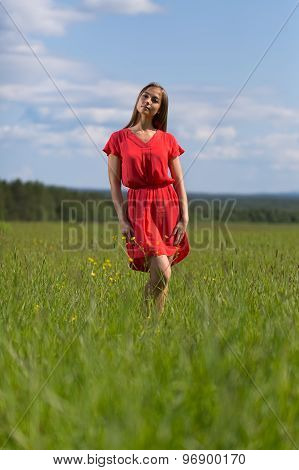 Young Pretty Woman In Red Dress