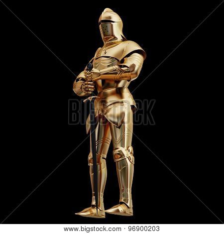 Illustration Of A Golden Armor