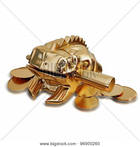 Illustration Of A Golden Feng Shui Frog Sitting On Money