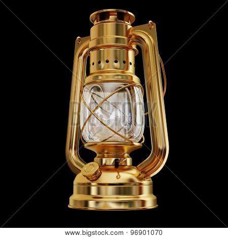Illustration Of A Gold Antique Kerosene Lamp Isolated