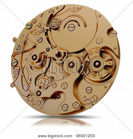 Illustration Of A Gold Watch Mechanism Isolated