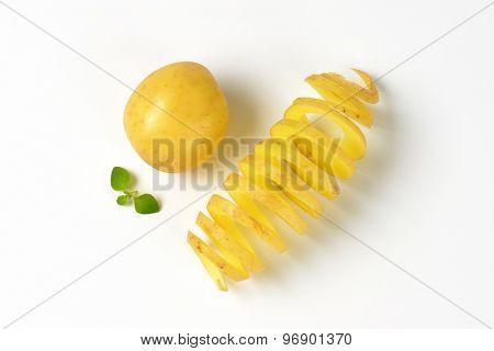 baby potato and potato peel spiral on white background