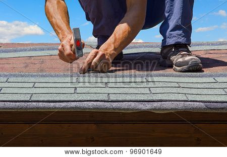 Gardener Renew Roof Of Summer Garden House