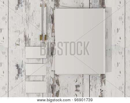 Corporate Identity Template Mockup On Vintage Wooden Substrate