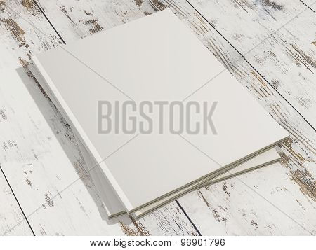 Stack Of Magazines Cover With Blank White Page Mockup On Vintage Wooden Substrate