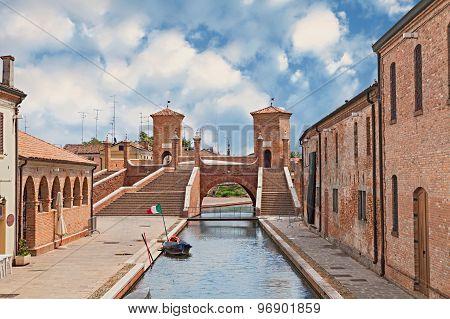 Ancent Bridge In Comacchio, Italy