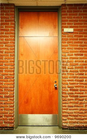 Vertical Of Wood Door With Plate