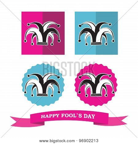 Vector Set From Silhouette Clowns Hat In Frame