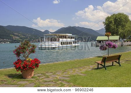 Bad Wiessee Harbor With Flower Decoration And Passenger Liner