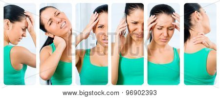 collage of photos of the girl suffering from a headache