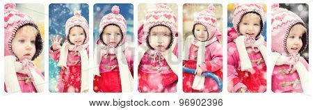 collage  photos of a baby girl in winter clothes on the playground
