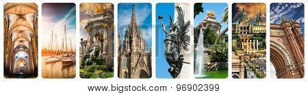 collage of beautiful views of Barcelona, Spain