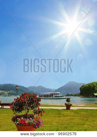 Passenger Liner In Bad Wiessee Harbor And Promenade Lake Tegernsee, Bavaria