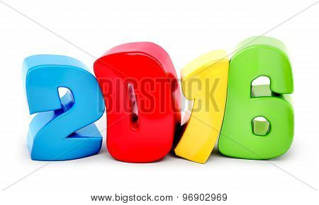 Colour Drunk 2016 New Year On White Background. 3D Rendered Image