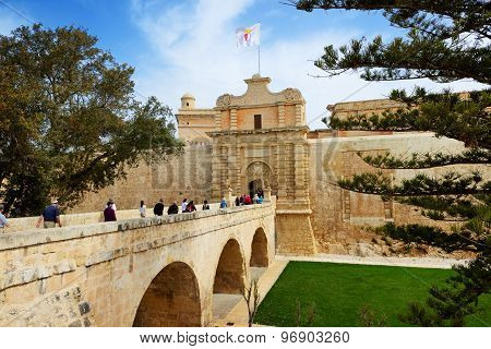 Sliema, Malta - April 19: The Entrance In Medival Mdina Town And Tourists On April 19, 2015 In Mdina