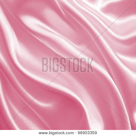 Smooth Elegant Pink Silk Or Satin Texture As Background