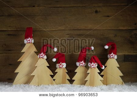 Classical christmas card with santa hats in red, white and brown colors.