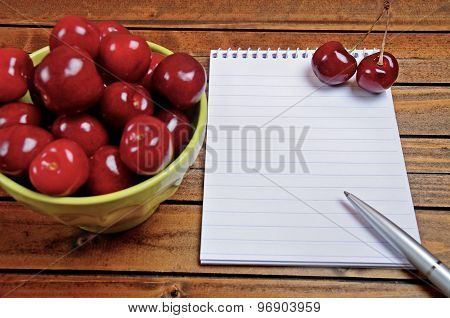 Cherries Fruit And Empty Notepad
