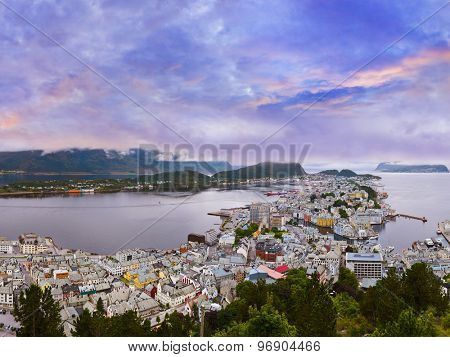 Panorama of Alesund Norway - nature and architecture background