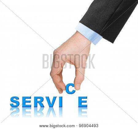 Hand and word Service - business concept, isolated on white background