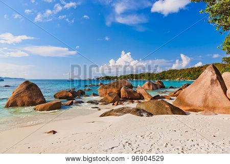 Beach Anse Lazio at island Praslin Seychelles - nature background