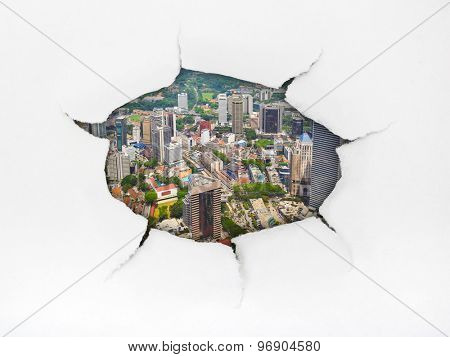 Paper hole and town (Kuala Lumpur Malaysia) - architecture concept