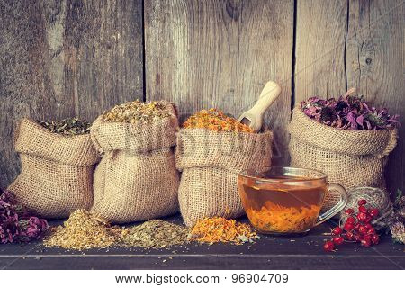 Healing Herbs In Hessian Bags And Healthy Tea Cup, Herbal Medicine.retro Styled.