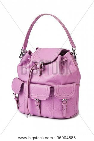 Pink woman handbag isolated on white background