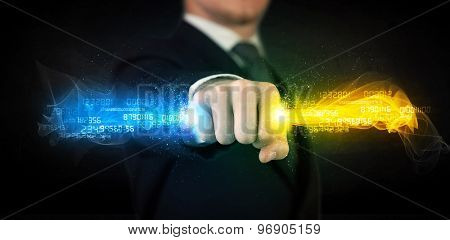 Man holding colorful glowing data in his hands concept