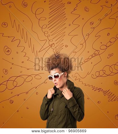 Excited young woman with extreme hairtsyle and hand drawn lines concept on background