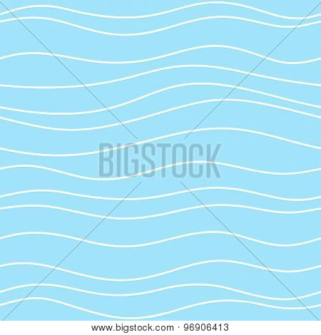 Seamless blue pattern with thin white waves